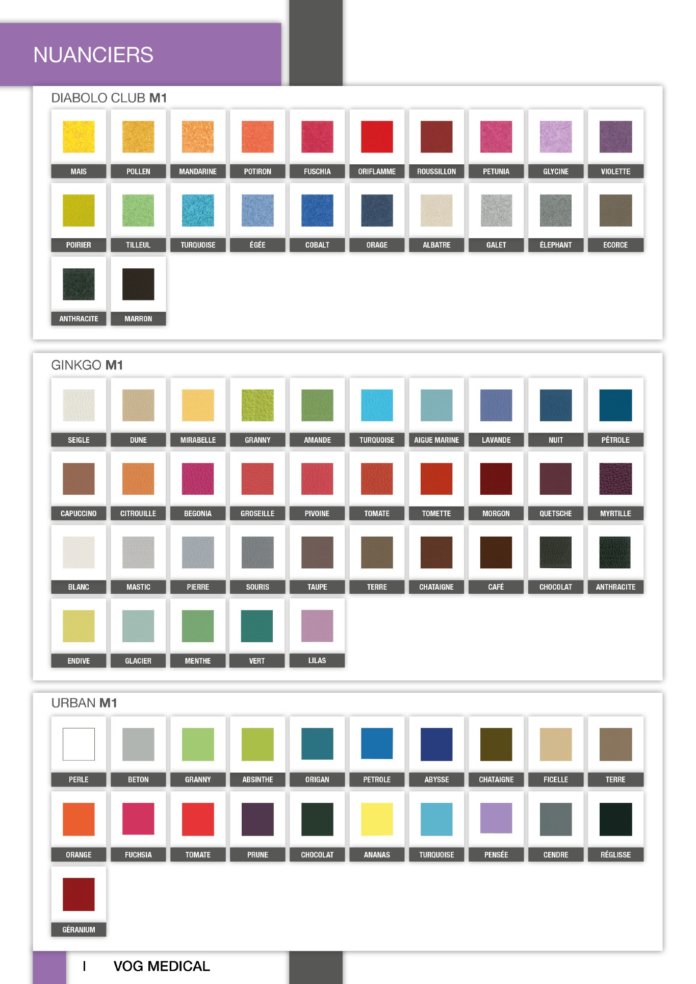Nuancier des différents coloris
